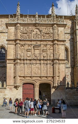 The Plateresque Facade Of The University Of Salamanca In The Historical Center Of The City