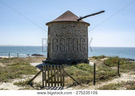 Apúlia, Esposende, Portugal;august 2018: The Ancient Windmills And