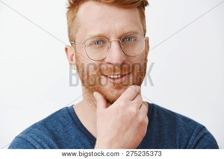 Interesting, I Think You Fit Our Company. Pleased Intrigued Creative And Handsome Redhead Boss In Bl