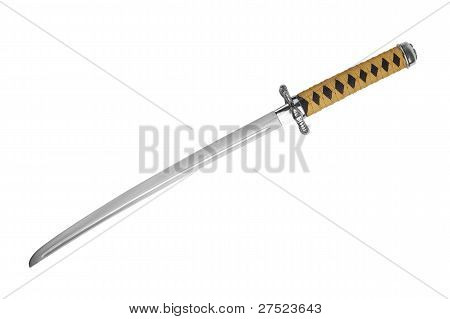 Japanese Samurai Sword With A Yellow-black Ink