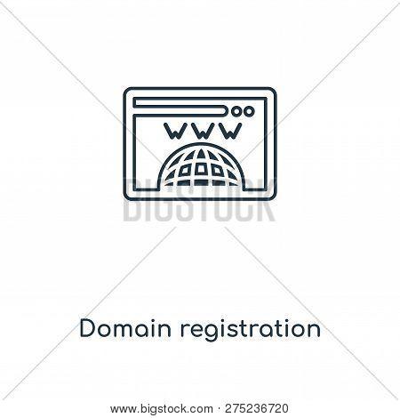 Domain Registration Icon In Trendy Design Style. Domain Registration Icon Isolated On White Backgrou