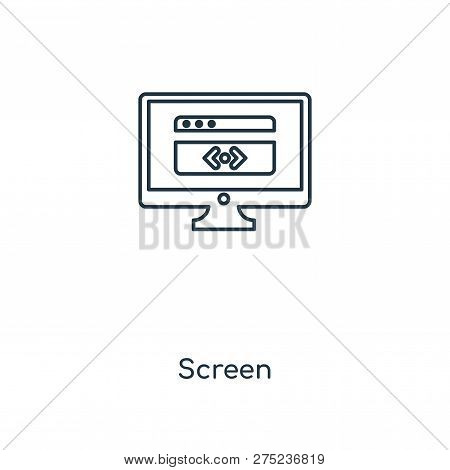 Screen Icon In Trendy Design Style. Screen Icon Isolated On White Background. Screen Vector Icon Sim