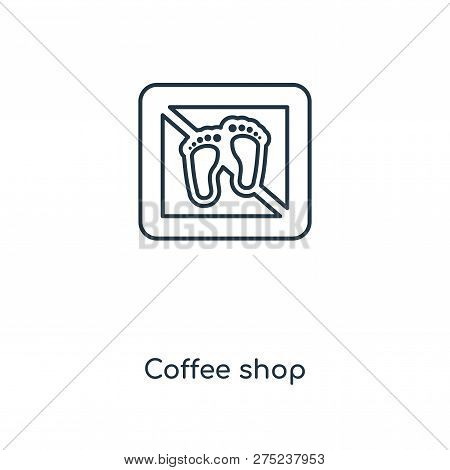 Coffee Shop Icon In Trendy Design Style. Coffee Shop Icon Isolated On White Background. Coffee Shop