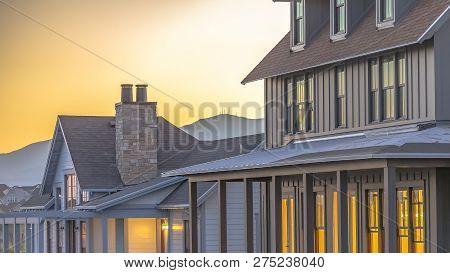Golden Sky And Beautiful Homes In Daybreak Utah