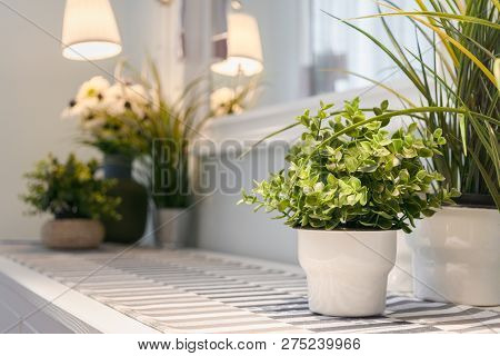Artificial Flower Vase Decoration In Modern Living Room. Detailed Of Modern Living Room Interior Des
