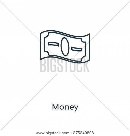 Money Icon In Trendy Design Style. Money Icon Isolated On White Background. Money Vector Icon Simple