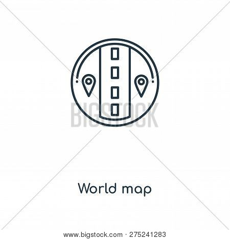 World Map Icon In Trendy Design Style. World Map Icon Isolated On White Background. World Map Vector