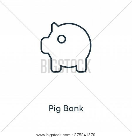 Pig Bank Icon In Trendy Design Style. Pig Bank Icon Isolated On White Background. Pig Bank Vector Ic