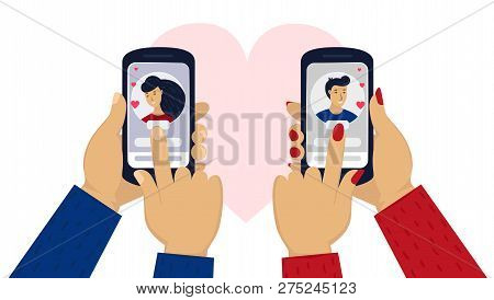 Mens And Womens Hand Holding Phone With Portrait. Online Love Chat In Internet. Online Dating Or Dat