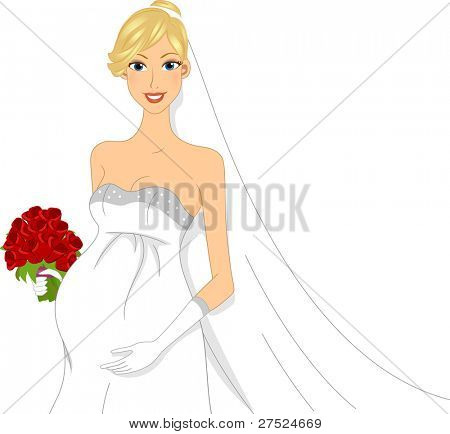Illustration of a Pregnant Bride Dressed in a Wedding Gown