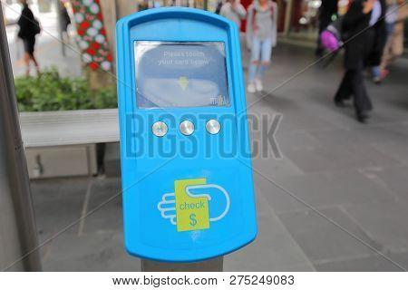 Melbourne Australia - December 4, 2018: Myki Ticket Fare Checking Machine In Melbourne Australia. My