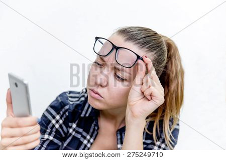Young Woman With Bad Eyesight With Glasses And Contact Lenses