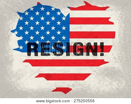Resign Heart Flag Means Quit Or Resignation From Job Government Or President