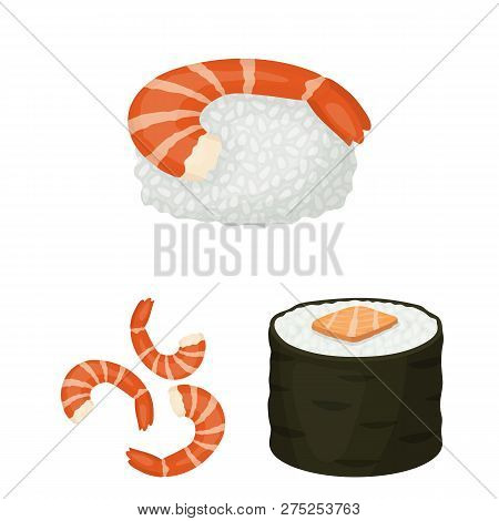 Vector Illustration Of Sushi And Fish Sign. Set Of Sushi And Cuisine Vector Icon For Stock.