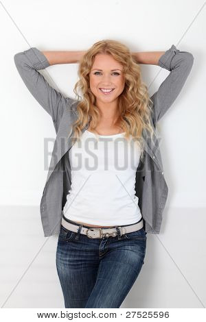 Beautiful blond woman with trendy look