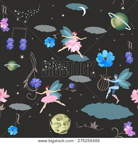 Dreams. Seamless Fantasy Pattern With Winged Fairies And Elf, Lyre, Treble Clef And Musical Notes In