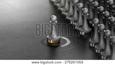 3d Illustration Of Pawns Over Black Background With One Of Them In The Center Of A Target . Talent S