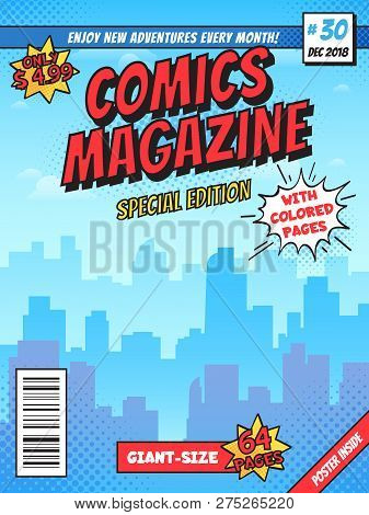 Comic Book Cover Page. City Superhero Empty Comics Magazine Covers Layout, Town Buildings And Vintag