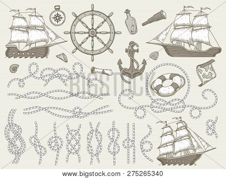 Decorative Marine Elements. Sea Rope Frames, Sailing Boat Or Nautic Ship Steering Wheel And Nautical
