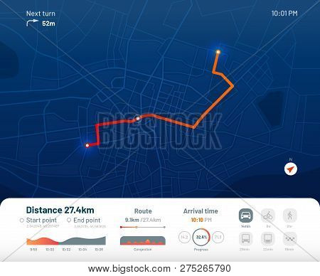 Route Dashboard. City Street Map Navigation, Town Running Routes And Gps Tracking Maps App Flat Vect