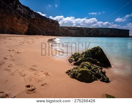 Beautiful View On Beach Near Sagres At The Atlantic Ocean Portugal Europe. The Coastline Is Used By