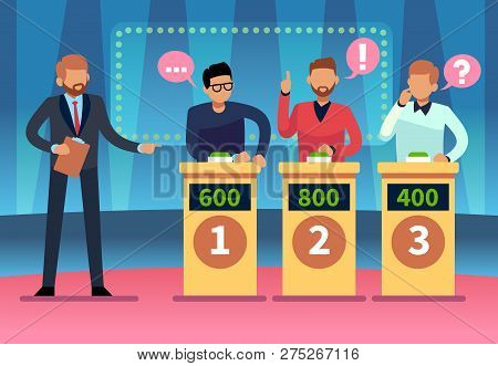 Game Quiz Show. Clever Young People Playing Television Quiz With Showman, Trivia Game Tv Competition
