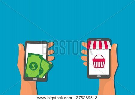Hand Hold Mobile Application Online Shop Pay Button Shopping Icon Concept Flat