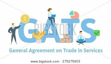 Gats, General Agreement On Trade In Services. Concept With Keywords, Letters And Icons. Flat Vector