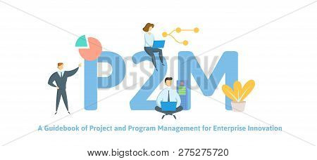 P2M, A Guidebook for Project and Program Management for Enterprise Innovation. Concept with keywords, letters and icons. Flat vector illustration. Isolated on white background. poster