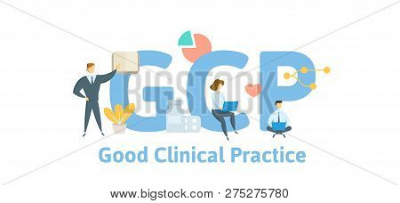 Gcp, Good Clinical Practice. Concept With Keywords, Letters And Icons. Flat Vector Illustration. Iso