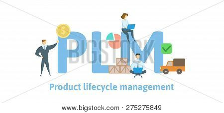 Plm, Product Lifecycle Management. Concept With Keywords, Letters And Icons. Flat Vector Illustratio