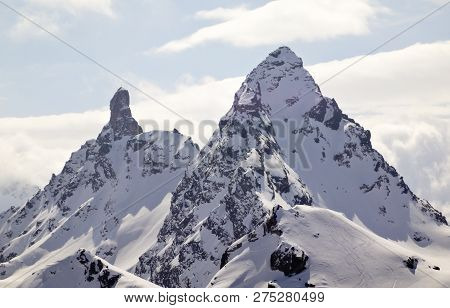 Winter Mountain Landscape In Alps Of Switzerland Above Klosters With The Gross Litzner And Gross See