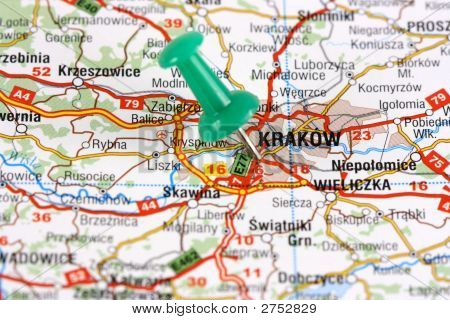 Krakow Pinned On Map