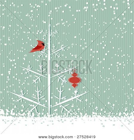 Winter background with red cardinal, christmas tree and decoration