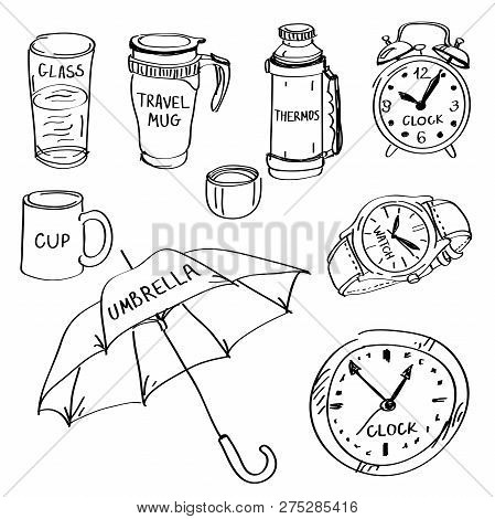 Set Of Hand Drawn Different Items Doodles Isolated On A White Background. Vector Illustrations Of Gl