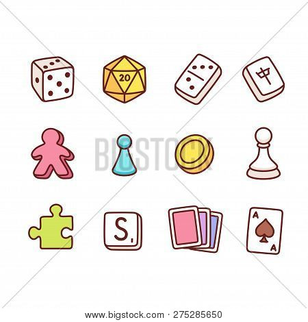 Board Game Icons In Hand Drawn Cartoon Style. Dice And Play Pieces, Markers And Cards. Vector Clip A