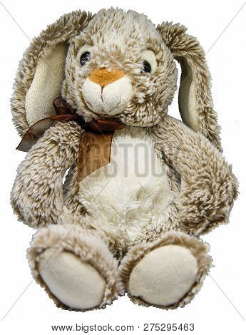 Soft toy hare on a transparent background, png poster