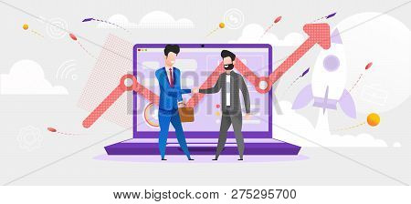 Illustration Man Made Deal With Financial Broker. Vector Screen Laptop Monitor Incremental Profit Gr
