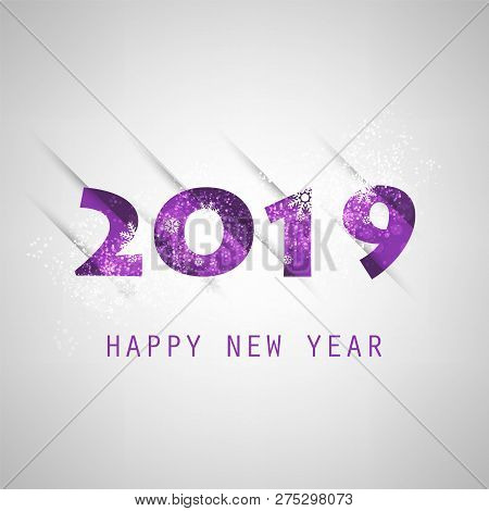Best Wishes - Abstract Grey And Purple Modern Style Happy New Year Greeting Card Or Background, Crea