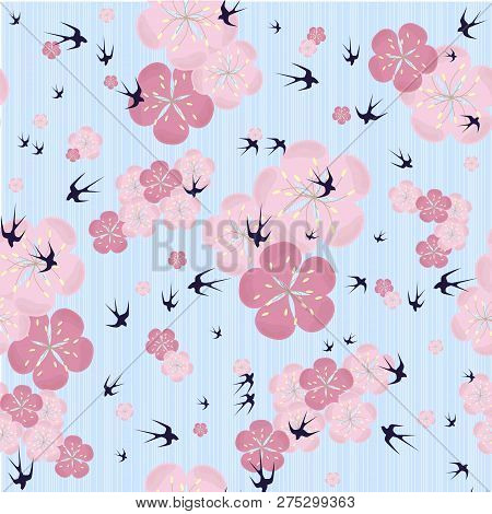 Seamless Sakura Flowers Background, Pink Blooming On Blue, Swallow Design Element Stock Vector Illus