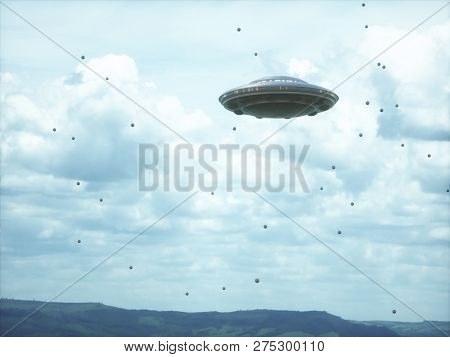 Unidentified Flying Object In Cloudy Sky With Strange Spheres Around. 3d Illustration.