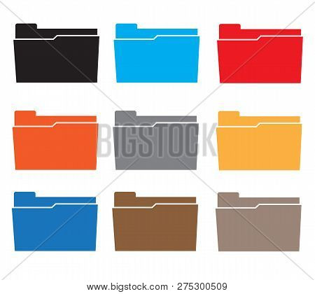 Folders Icon Set Colorful On White Background. Flat Style. Computer Folder Icon For Your Web Site De
