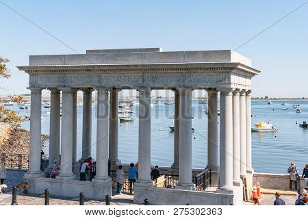 Plymouth, Ma - September 30, 2018: Plymouth Rock Monument Site Of The Pilgrims Landing In Plymouth,