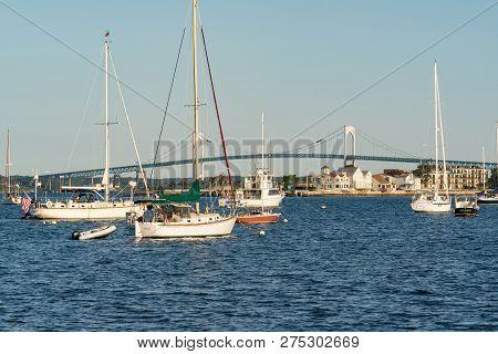 Newport, Rhode Island - September 30, 2018: Boats Moored In The Bay Of Newport, Rhode Island