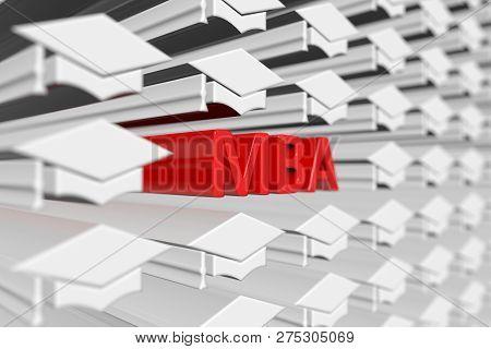MBA concept blurred background 3d render illustration poster