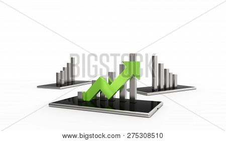 Green Arrow And Graph On Mobile Phone. Growing Business Concept.3d Rendering. Isolated On White Back