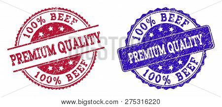 Grunge 100 Percent Beef Premium Quality Seal Stamps In Blue And Red Colors. Stamps Have Distress Sty