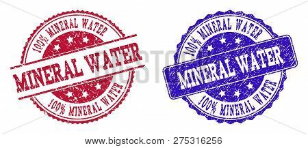 Grunge 100 Percent Mineral Water Seal Stamps In Blue And Red Colors. Stamps Have Draft Style. Vector