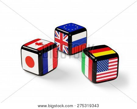 Dice With Flags Of The G8 Nations Cast. 3d Illustration