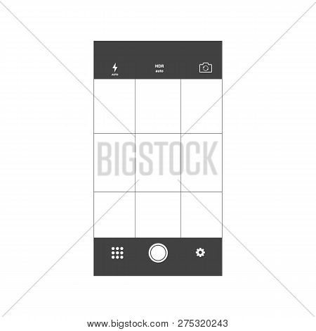 Mobile Camera Interface Template Background. Screen Of Smartphone With Camera Interface. Smartphone
